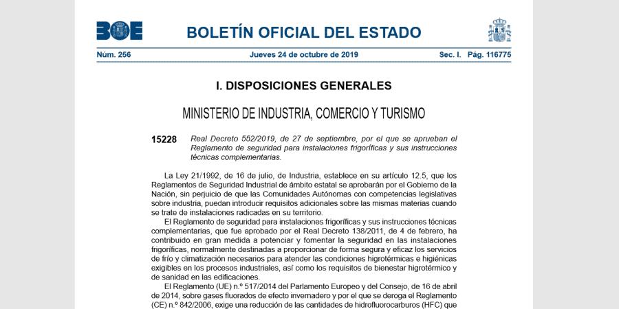 Real Decreto 552/2019, Reglamento Seguridad de Instalaciones Frigoríficas