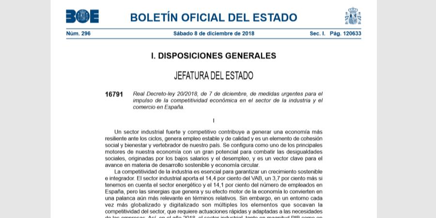 Real Decreto-ley 20/2018 de impulso de la competitividad económica en la industria y comercio